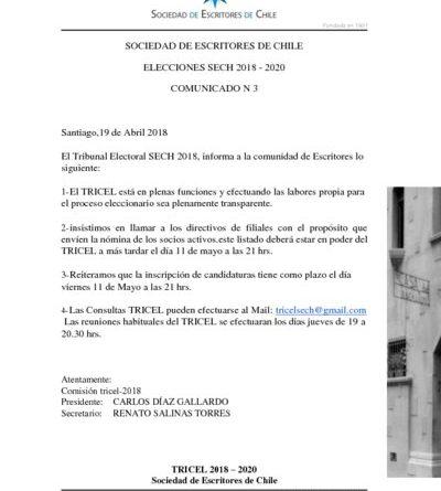 thumbnail of COMUNICADO ELECCIONES TRICEL N°3 2018-2020