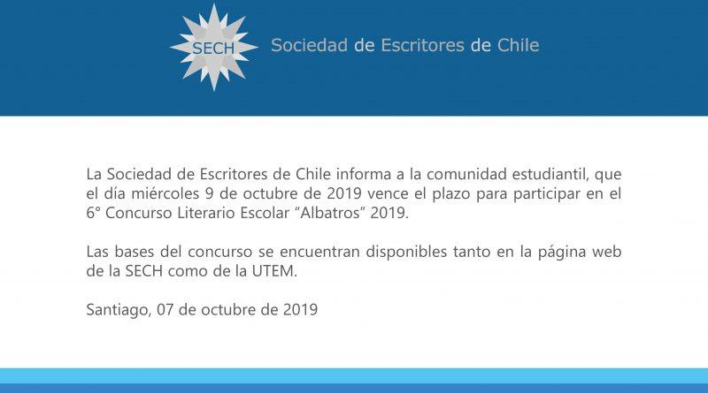 """Comunicado 6° Concurso Literario Escolar """"Albatros"""" 2019"""