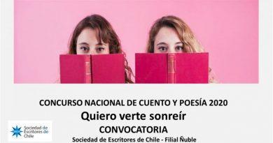 """CULMINA CONCURSO NACIONAL DE CUENTO Y POESÍA """"QUIERO VERTE SONREIR"""", CONVOCADO POR LA SOCIEDAD DE ESCRITORES DE CHILE, FILIAL ÑUBLE"""