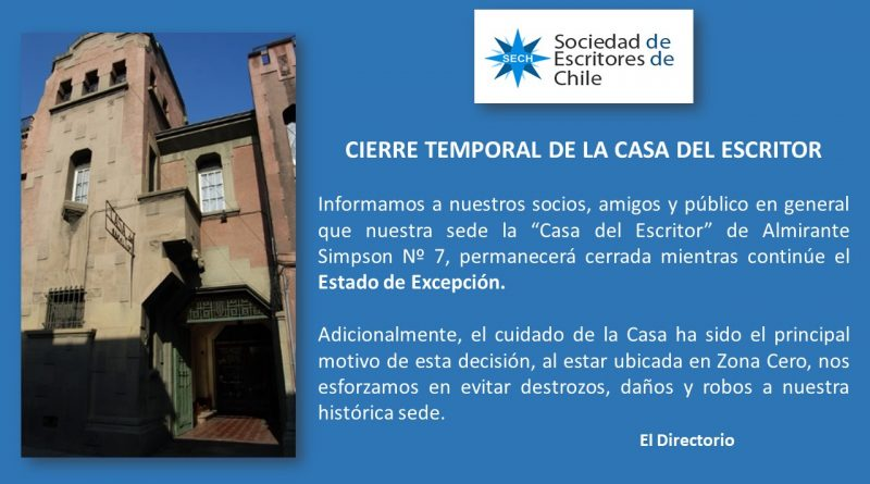 CIERRE TEMPORAL DE LA CASA DEL ESCRITOR