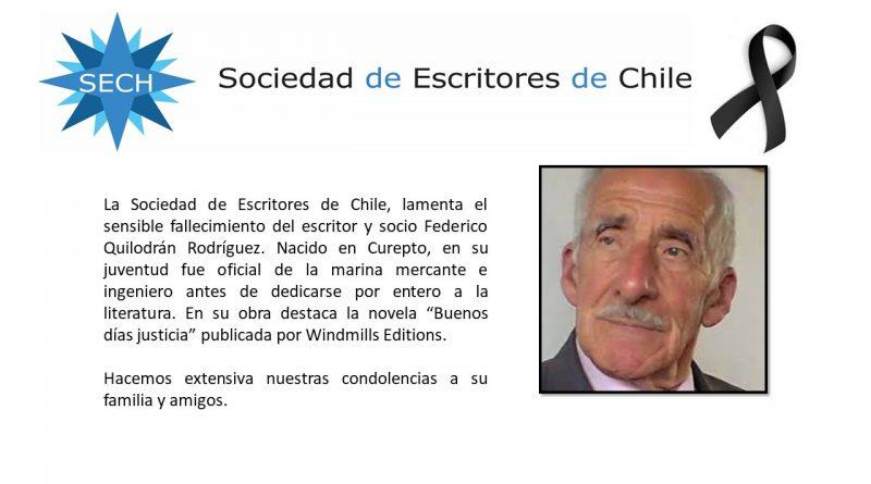 Fallece el escritor y socio Federico Quilodrán Rodríguez